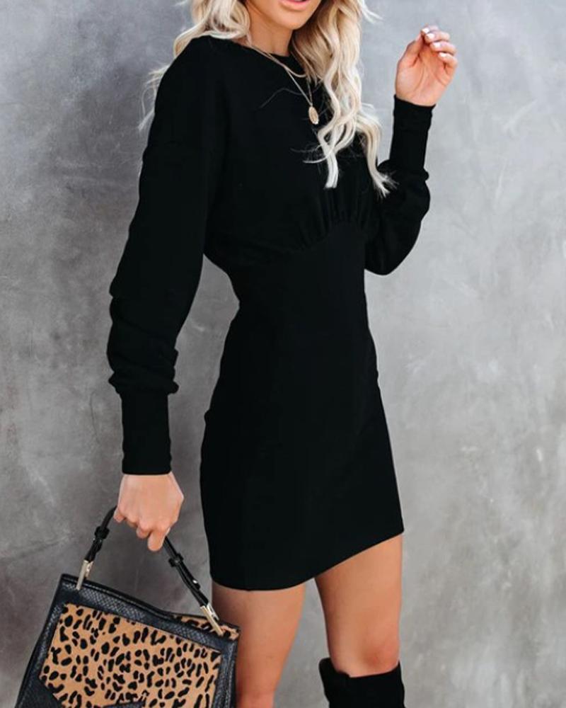 Solid Skinny Waist Long Sleeve Dress