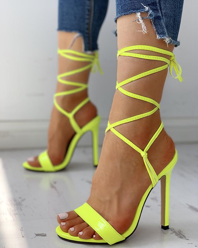 Open Toed Bandage Lace-Up Thin Heeled Sandals