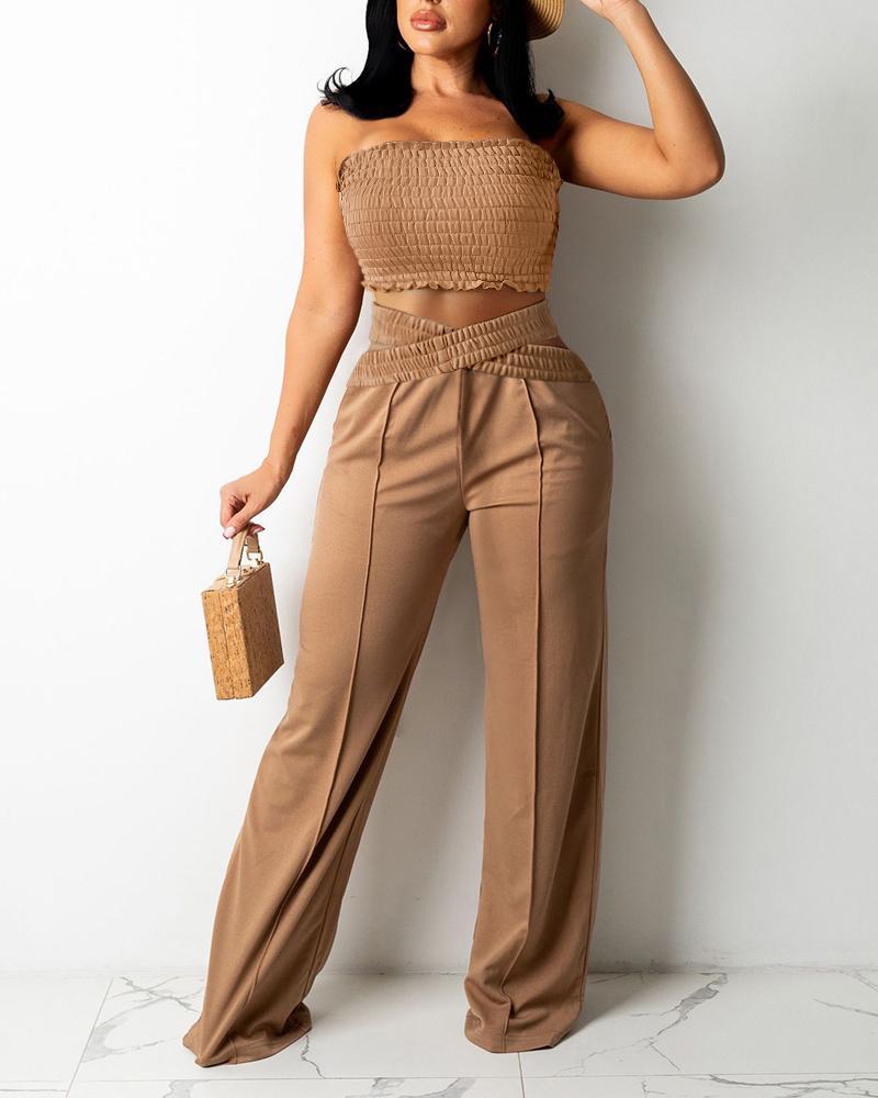 Bandeau Shirred Crop Top & Wide Legs Cutout Pants Set