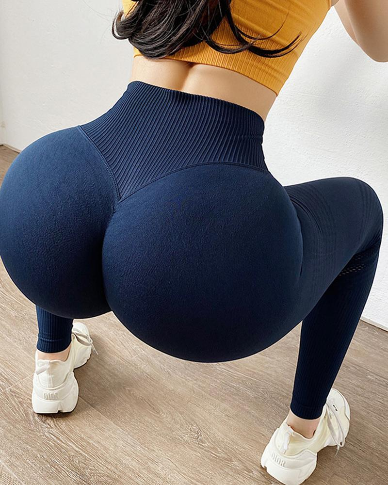 Solid Color High Waist Skinny Yoga Pants, boutiquefeel, purplish blue  - buy with discount