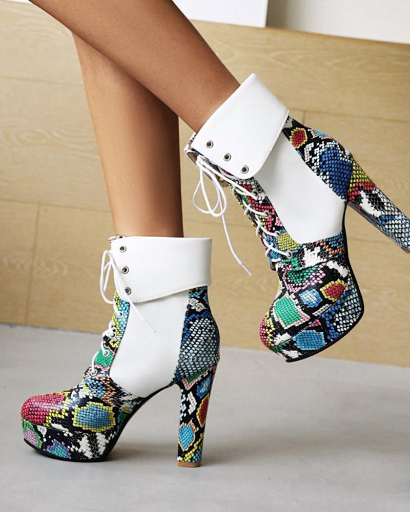 Womens Vintage Patchwork Snakeskin Print Round Toe High Heel Boots