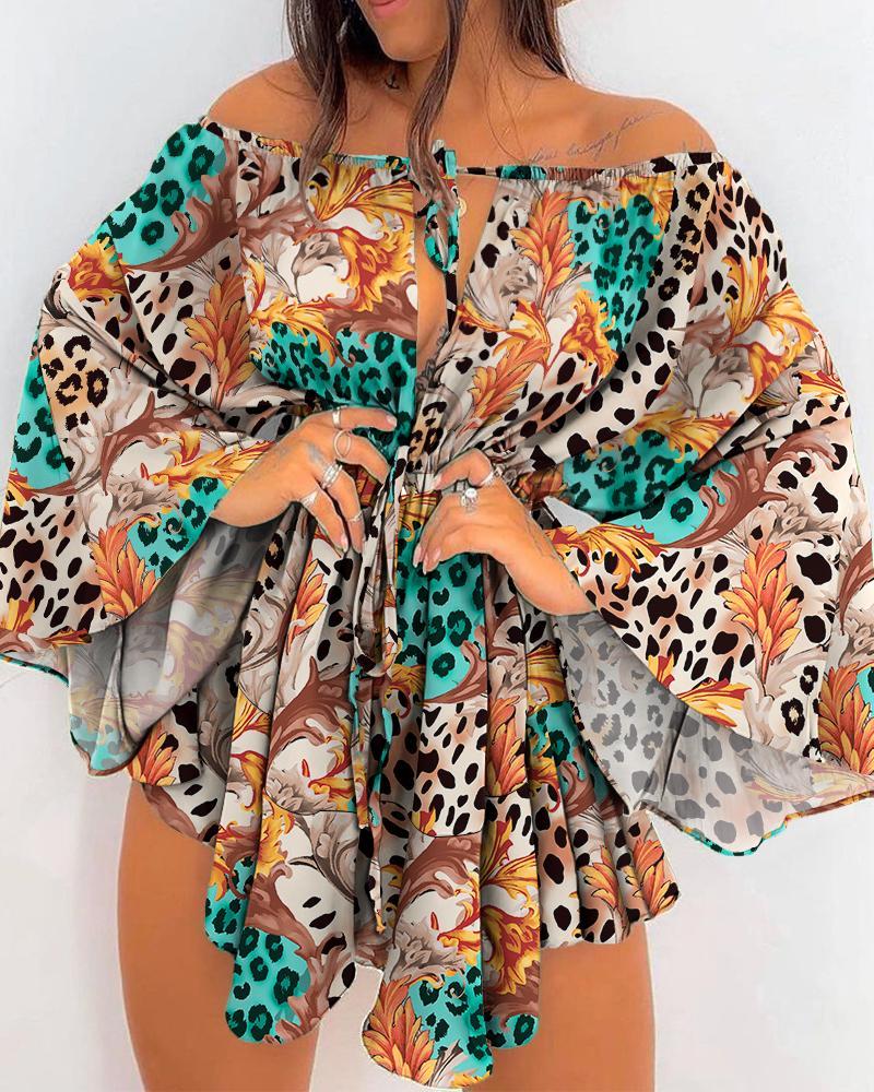 Leopard Print Off Shoulder Bell Sleeve Drawstring Dress