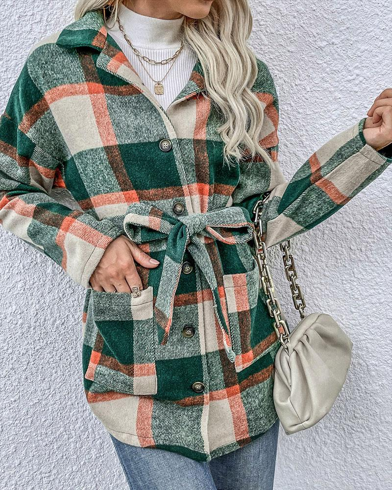 Plaid Print Long Sleeve Button Front Belted Shacket