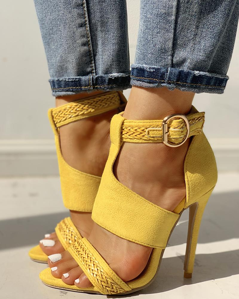 Suede Open Toe Braided Detail Thin Heels thumbnail
