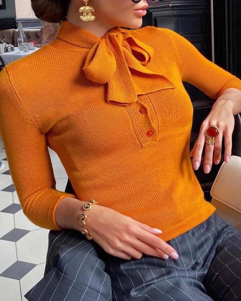 Tie Front Button Design Long Sleeve Sweater
