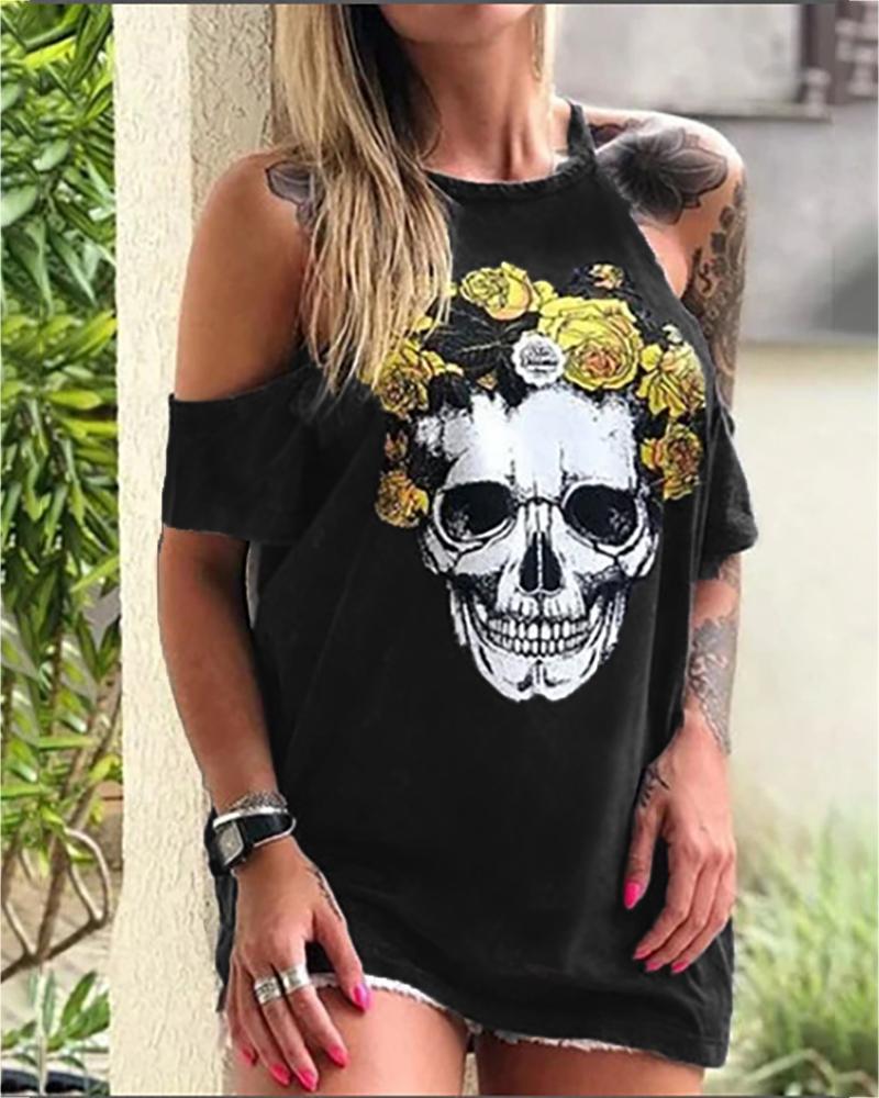 Skull Floral Print Cold Shoulder T-shirt