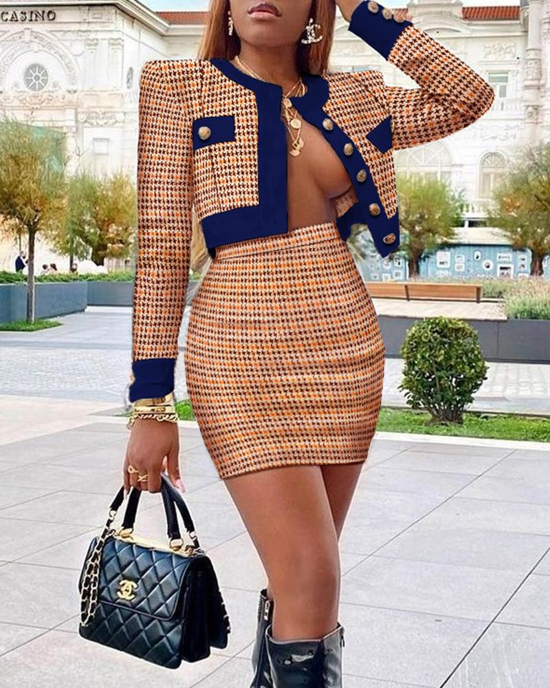Houndstooth Print Colorblock Buttoned Tweed Coat & Skirt Set