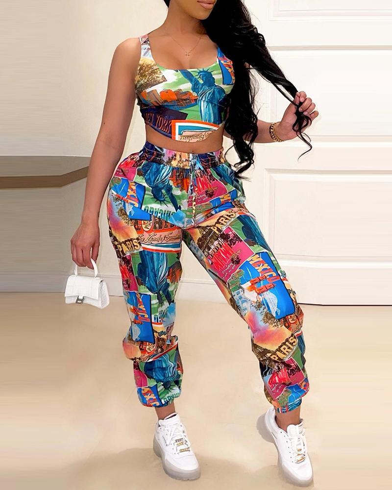 Graphic Print Thick Strap Top & Drawstring Pants Set