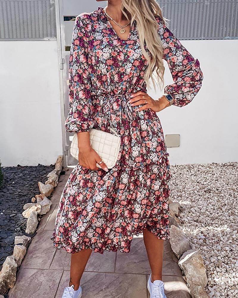 Floral Print Long Sleeve Tied Detail Ruched Dress