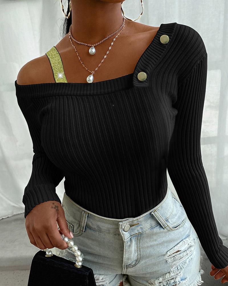Glitter Ribbon Buttoned Knit Sweater