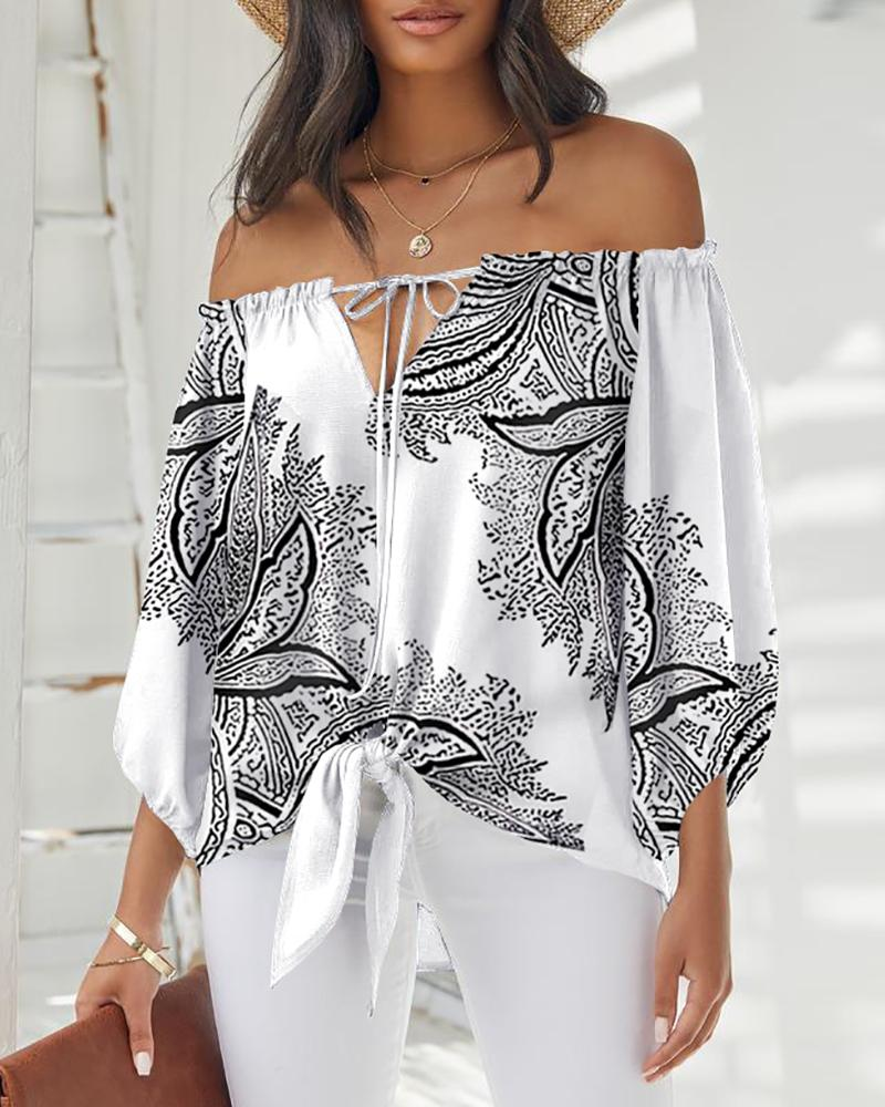 Graphic Print Tie Front Off Shoulder Top, White