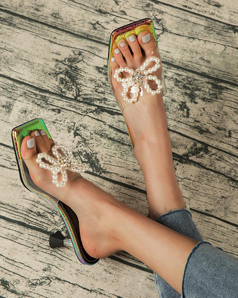Square-toe Clear Strap Splicing Beaded Butterfly Pattern Heel Sandals