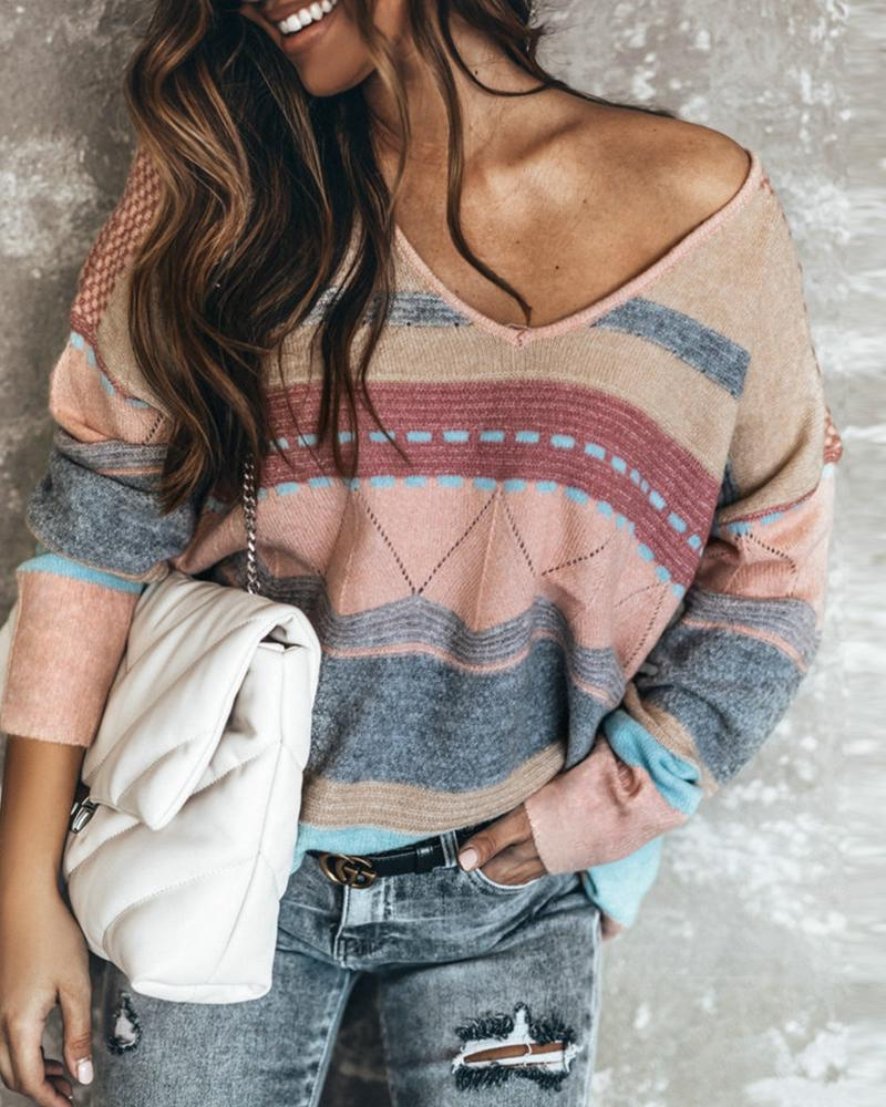 Striped Colorblock Long Sleeve Top