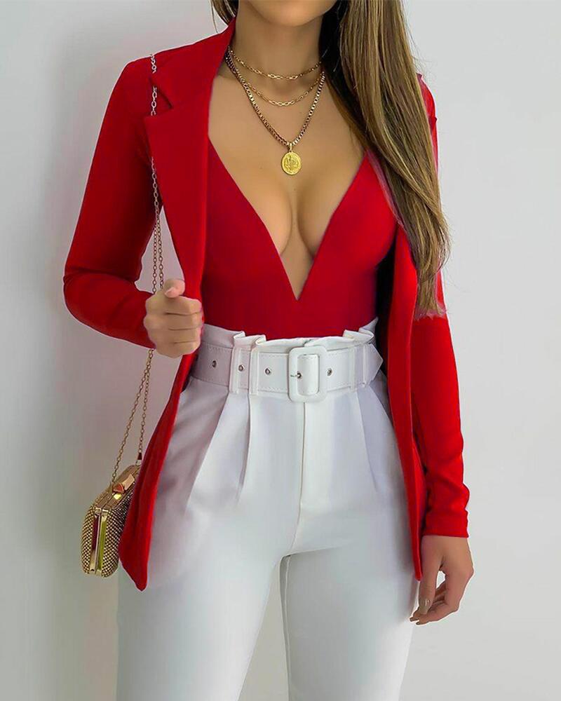 Plunging Neck Skinny Bodysuit & Lapel Collar Blazer Set thumbnail