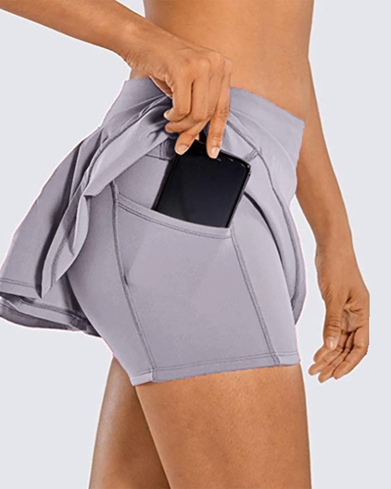 High Waist Double Layered Pockets Ruffles Yoga Short thumbnail
