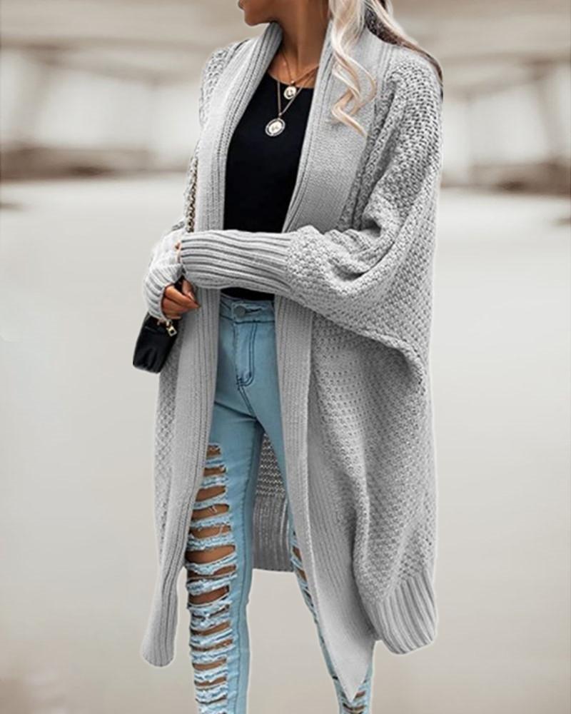 Batwing Sleeve Longline Knit Cardigan