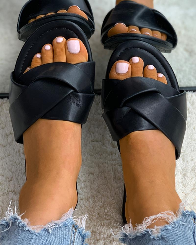 Twisted Open Toe Casual Slippers