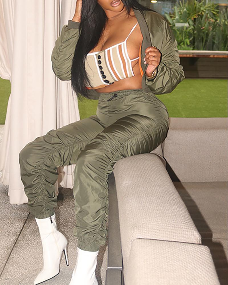 Ruched Long Sleeve Coat & High Waist Pants Set