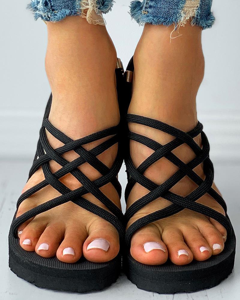 Cutout Open Toe Slingback Flat Sandals