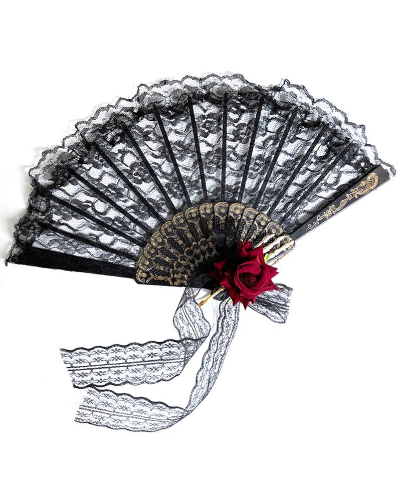 Gothic Style Lolita Flower Lace Handheld Folding Hand Fan