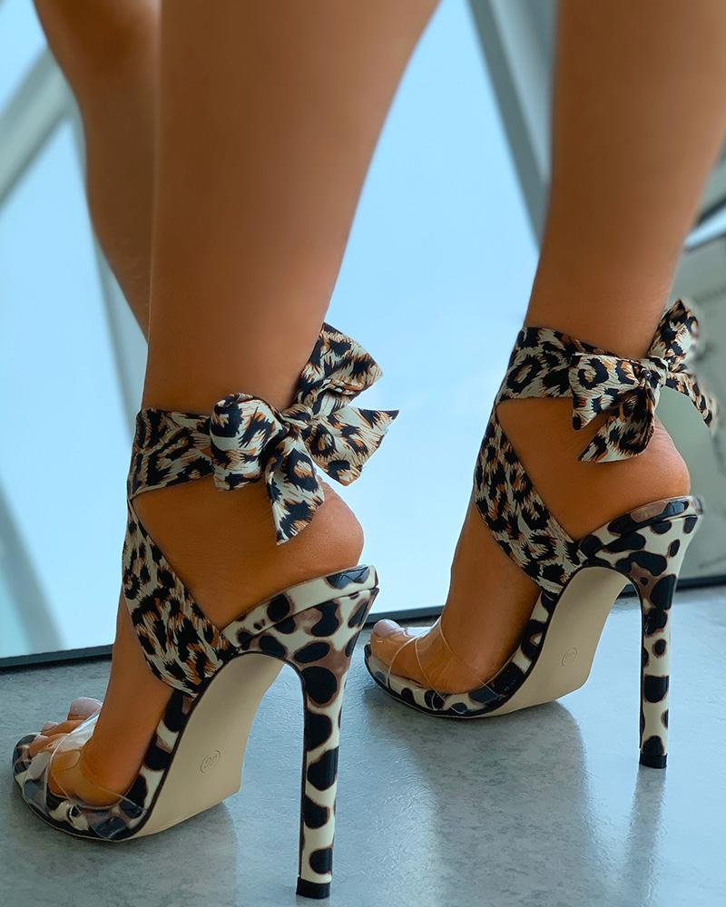 Clear Perspex Cheetah Print Tied Detail Stiletto Heels