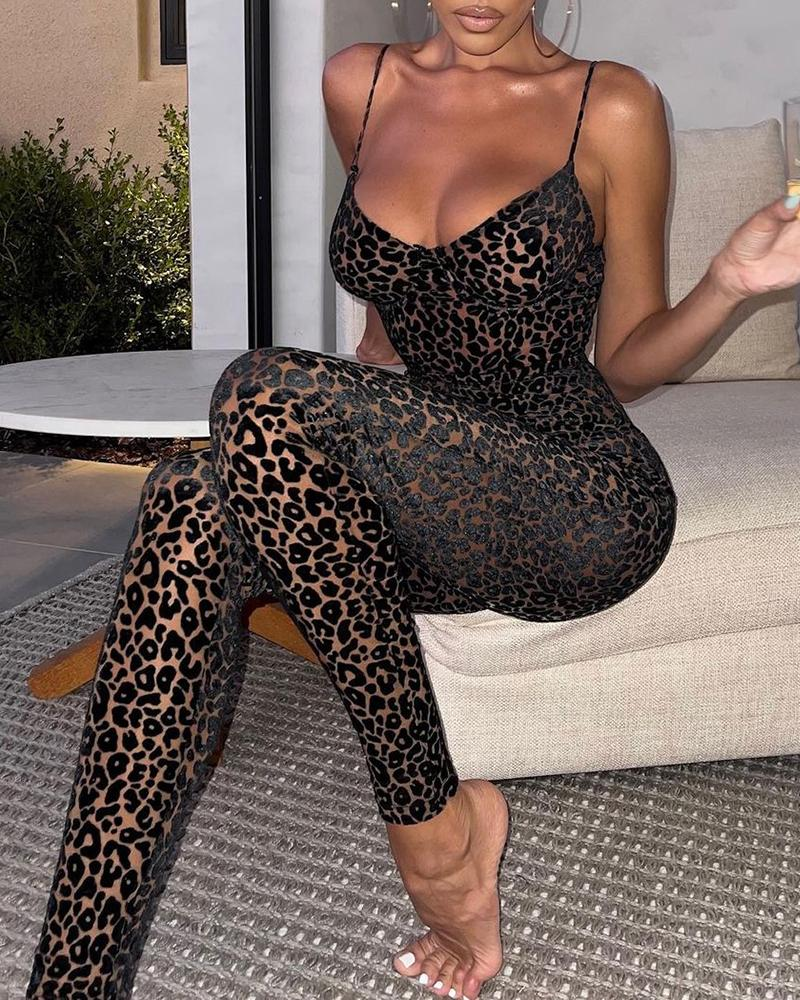 Cheetah Print Spaghetti Strap V neck Jumpsuit Sleeveless Cami Skinny Jumpsuit