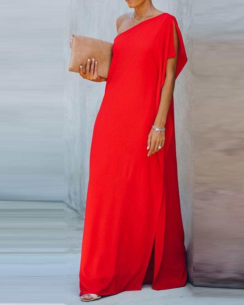 One Shoulder Slit Short Sleeve Maxi Dress