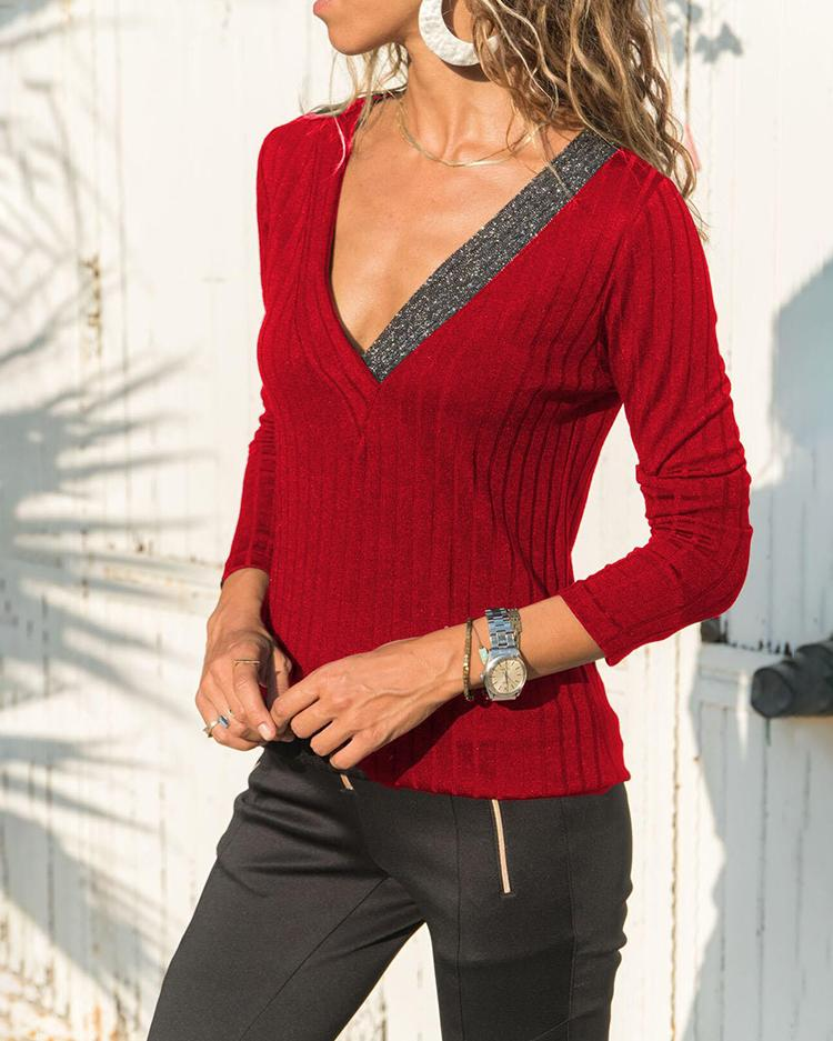ChicMe coupon: Long Sleeve V-Neck Sequins Splicing Top