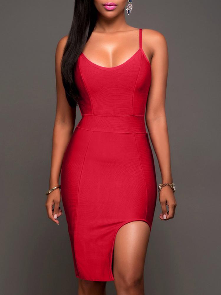 Boutiquefeel coupon: Fashion Irregular Split Sling  Spaghetti Strap Bodycon Dress