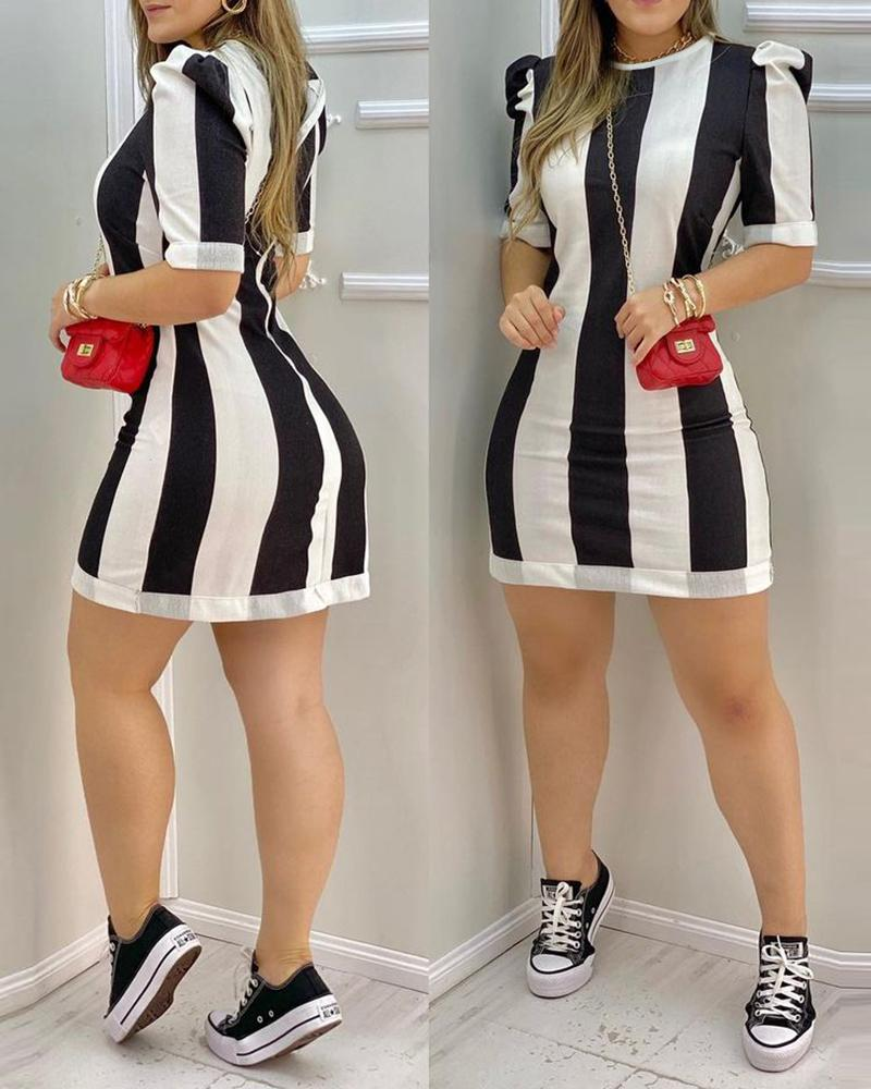 Striped Colorblock Puff Sleeve T-Shirt Dress, boutiquefeel, black  - buy with discount