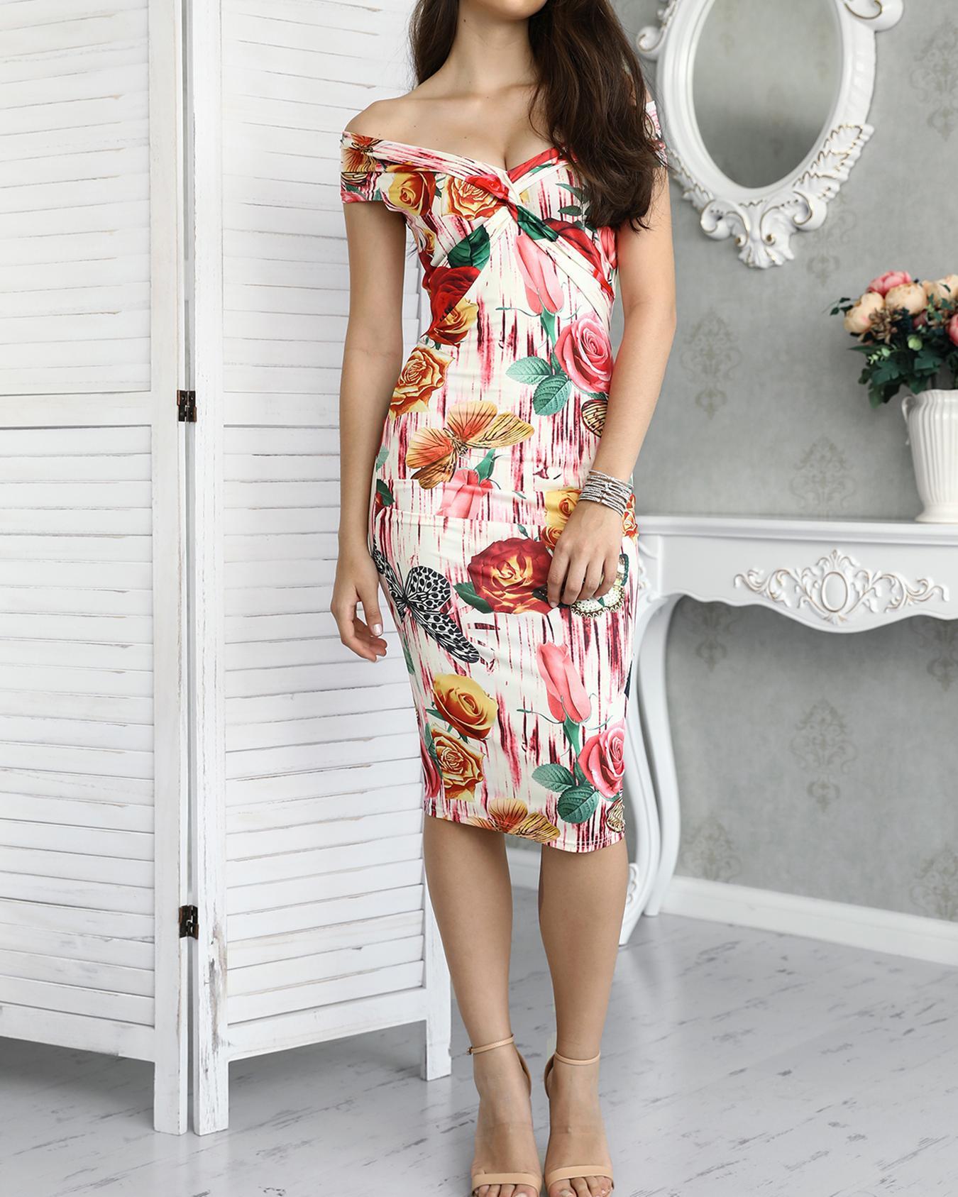 Joyshoetique coupon: Vintage Floral Twisted Fold-over Bodycon Midi Dress