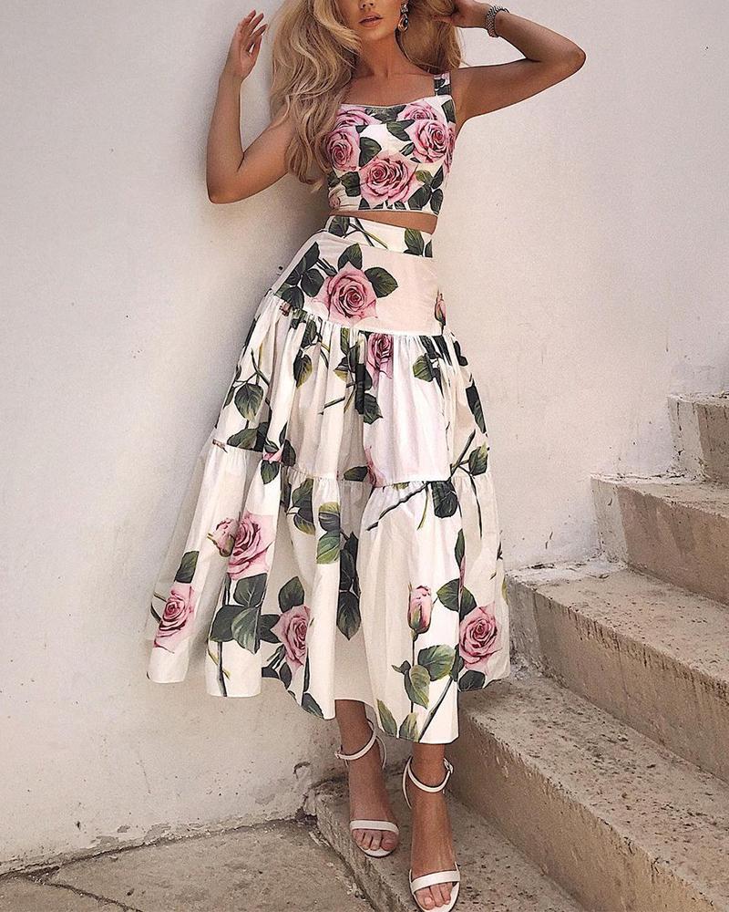 Floral Print Crop Cami Top & A-Line Skirt Set