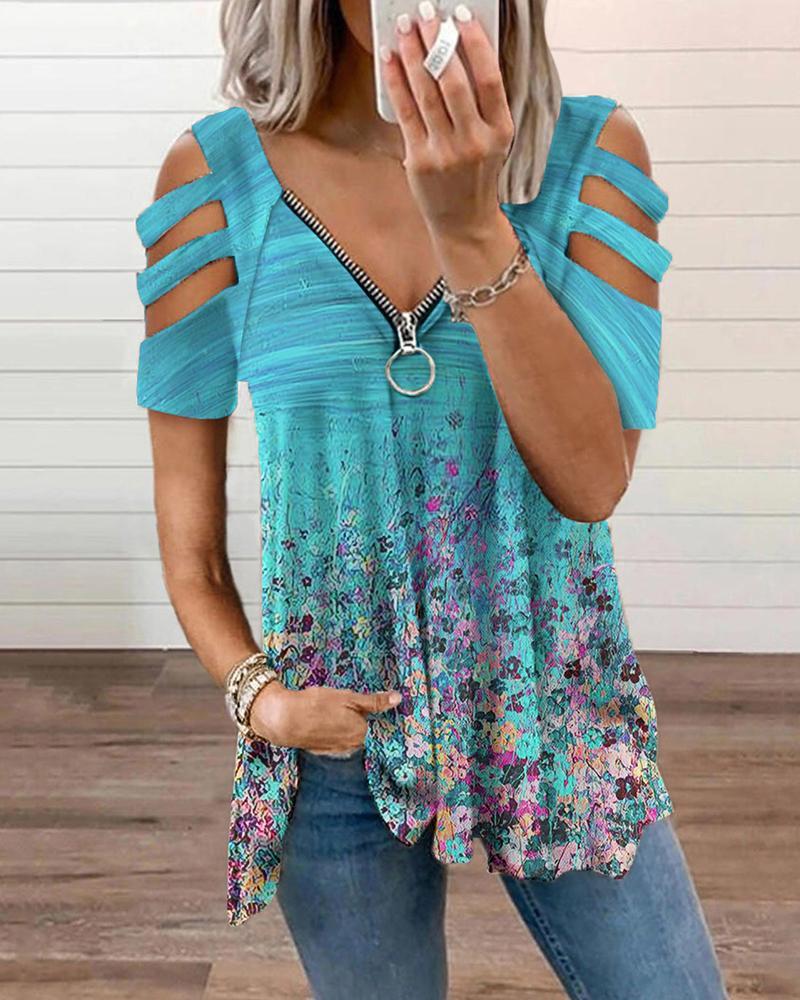 Zip Front Floran Print Cutout Sleeve T-shirt, Blue