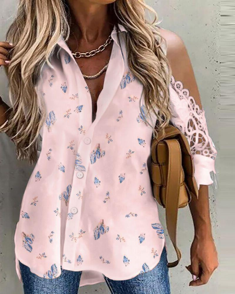 Half Sleeve Floral Print Buttoned Lace Trim Top