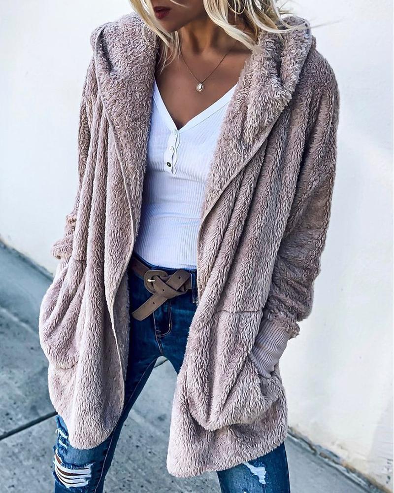 Long Sleeve Pocket Design Hooded Fluffy Teddy Coat