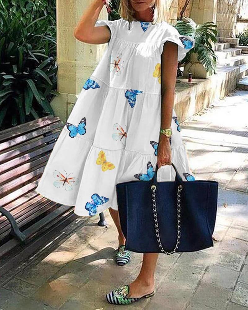 Butterfly Print Short Sleeve Ruched Casual Dress