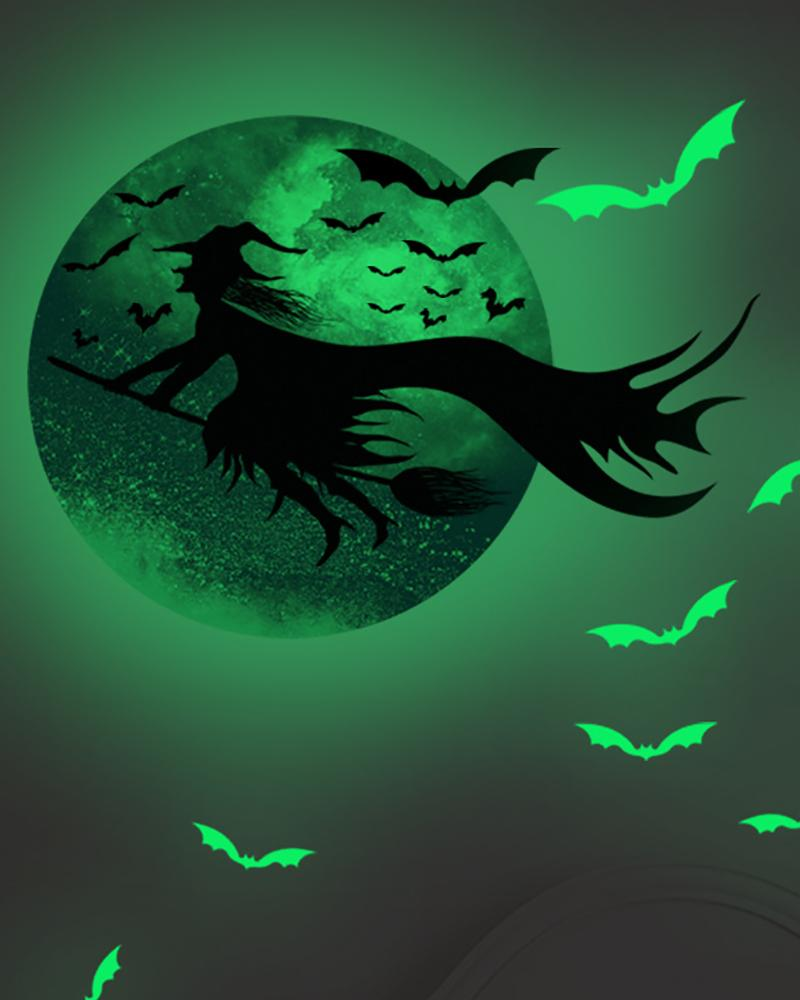 Glow in The Dark Stickers Halloween Wall Decals for Ceiling Decor Luminous Window Stickers Witch Bat for Halloween Theme Party Room Home