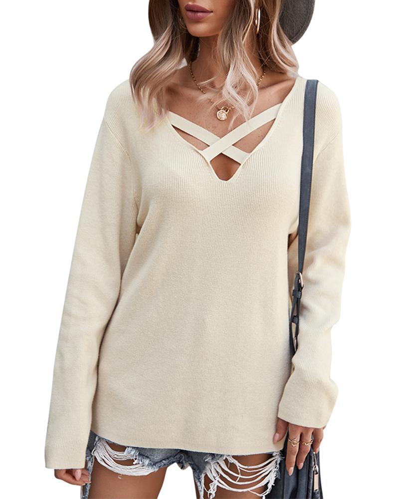 Crisscross FrontV-Neck Sweater