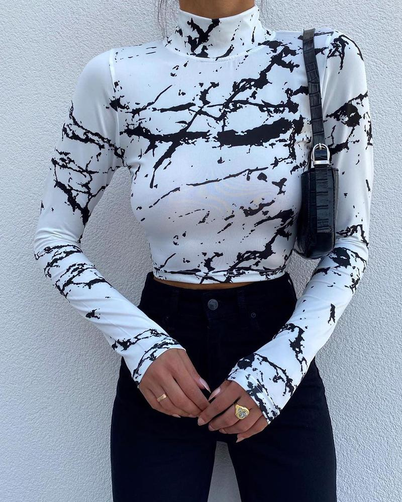 Abstract Print High Neck Long Sleeve Top
