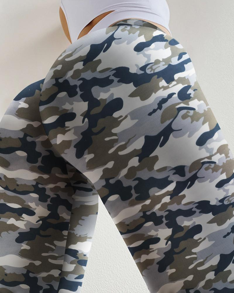 Pantalon de yoga taille haute imprimé camouflage de levage des fesses
