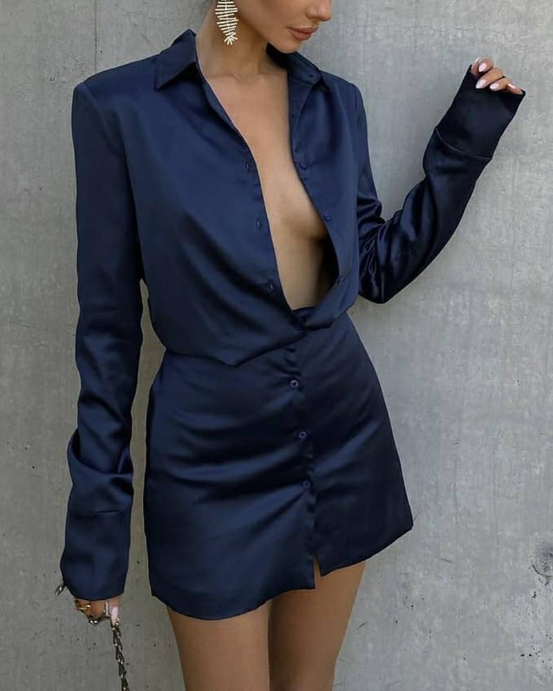 Skinny Button Front Shirt Dress, ivrose, purplish blue  - buy with discount