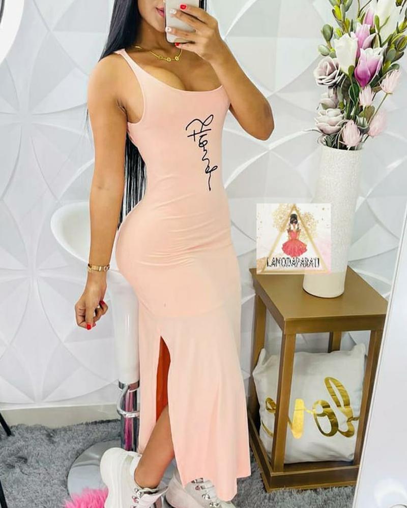 Solid Color U-Neck Split Cami Dress