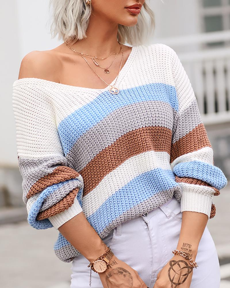 Rainbow Striped Twist V Back Chunky Knit Sweater, ivrose, Multicolor  - buy with discount