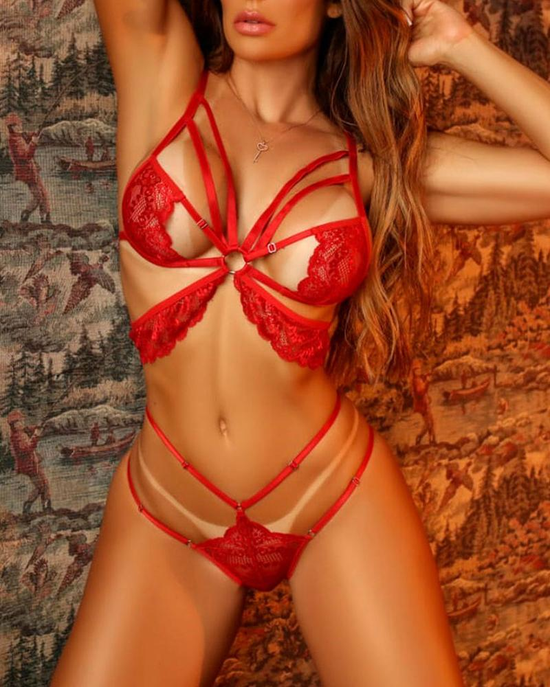 O-Ring Lace Underwire Lingerie Set