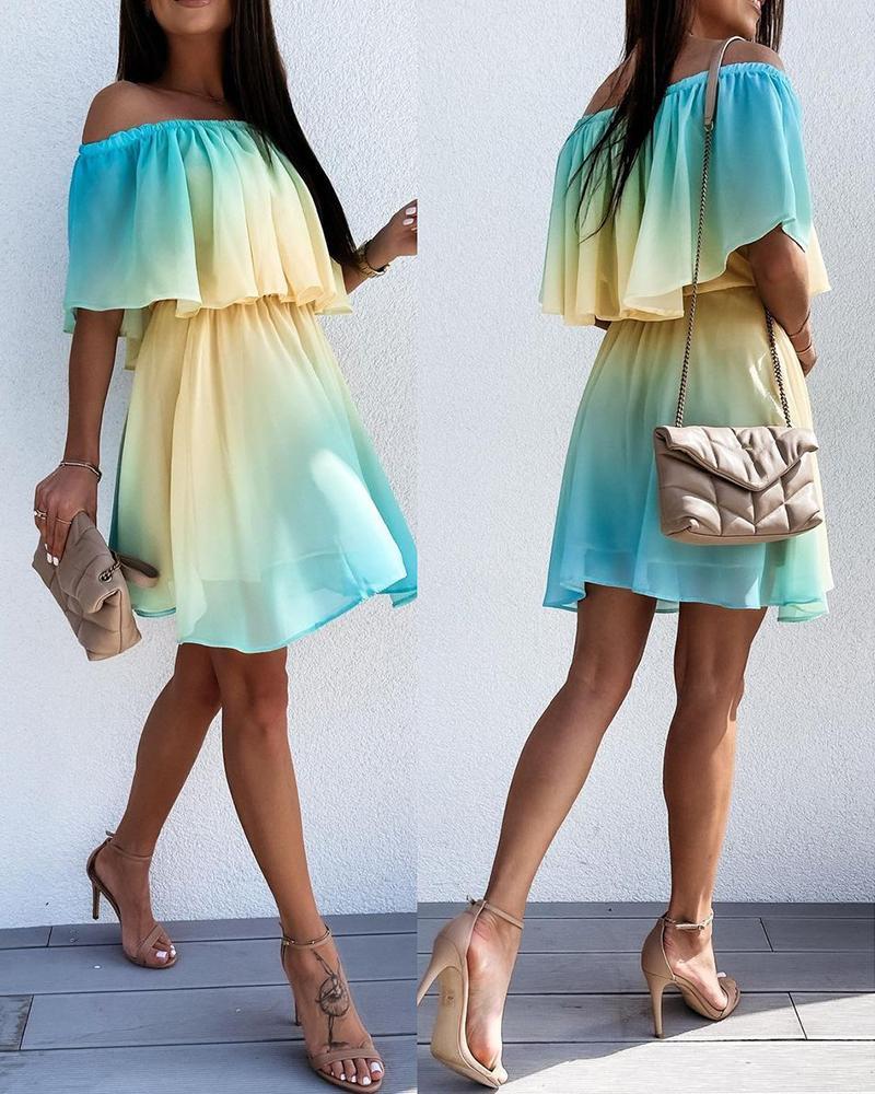 Off Shoulder Ombre Colorblock Ruffles Casual Dress