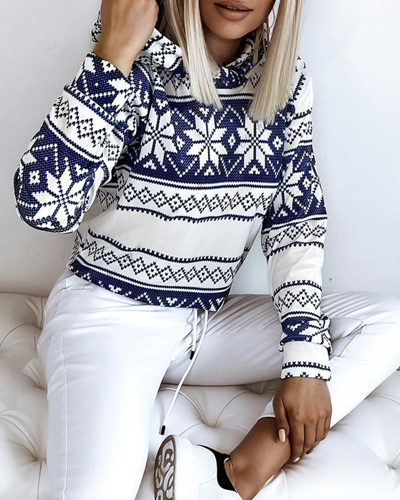 Christmas Snowflake Print Long Sleeve Hooded Sweatshirt