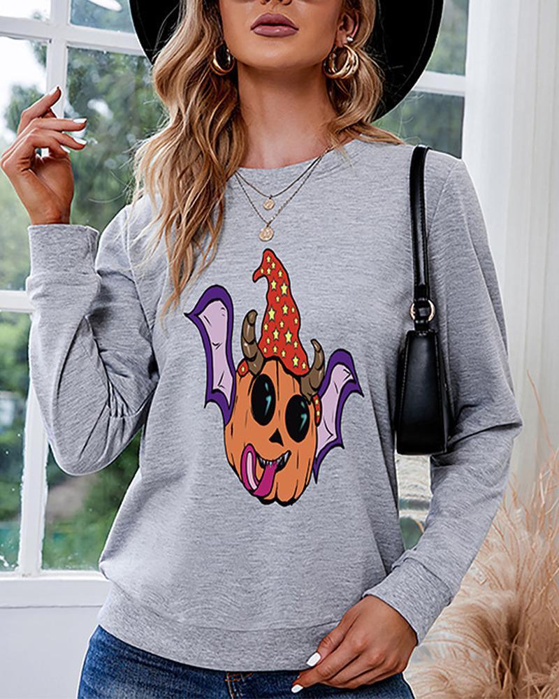 Halloween Batwing Pumpkin Pattern Long Sleeve Sweatshirt