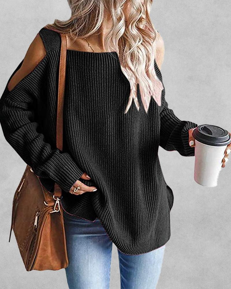 Cold Shoulder Chunky Knit Sweater