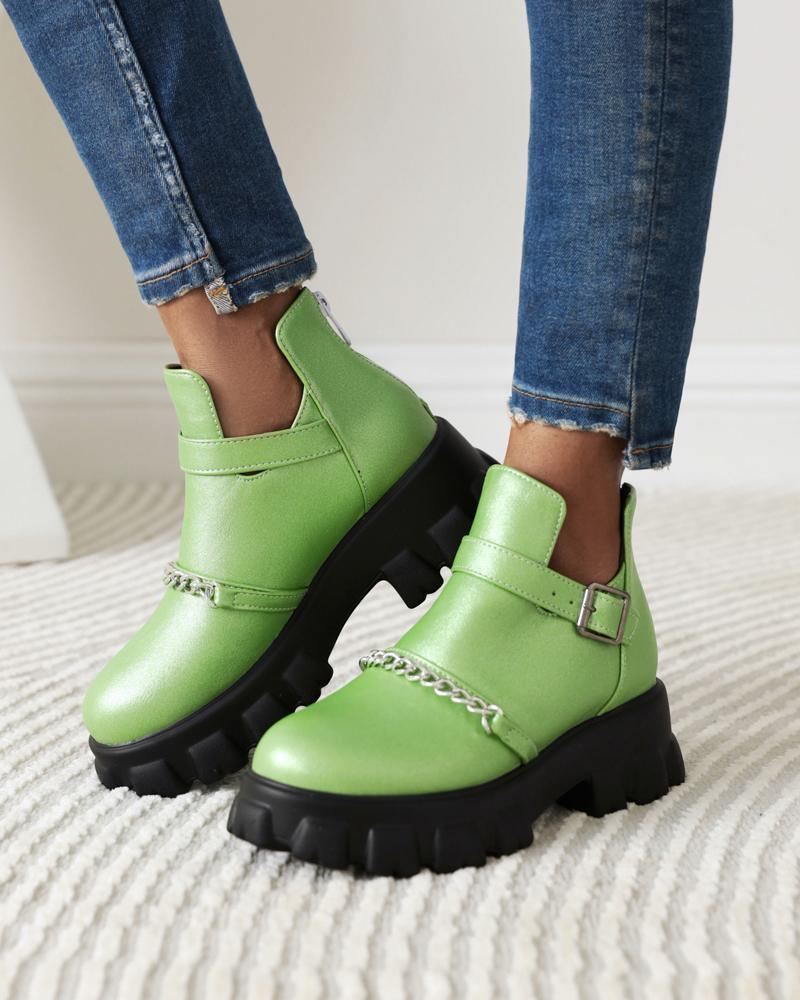 Womens Chain Decoration Round Toe Hollow-out Martin Boots, Green