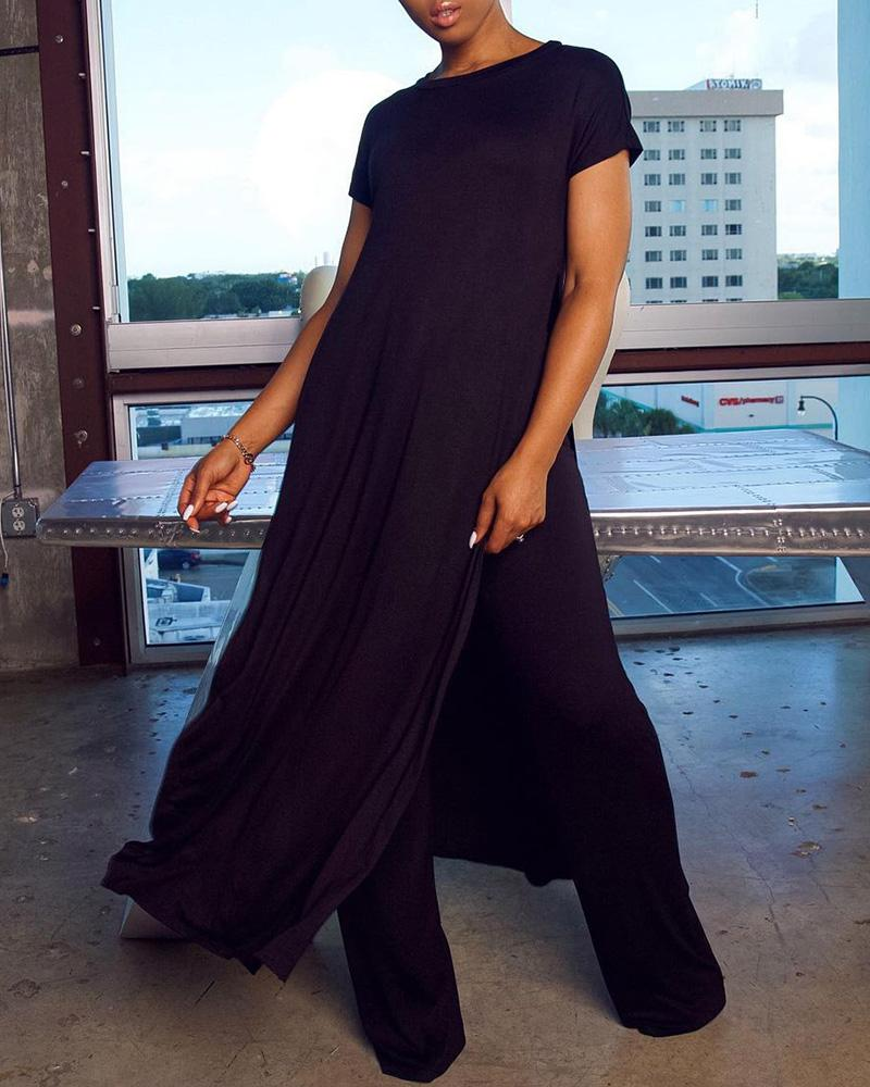 Plus Size Short Sleeve Asymmetrical Top & Pants Set